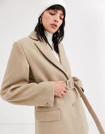 Beige donna Blazer in lana con cintura beige - Weekday