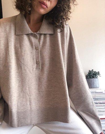Grigio donna Maglione dad fit con bottoni grigio talpa - Monique - Weekday