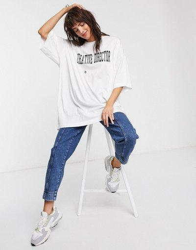 T-shirt Bianco donna shirt ultra ampia in cotone bianco con sloganCreative Director- Weekday - T