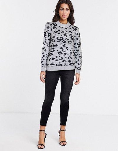 Bianco donna Maglione bianco con stampa leopardata - Whistles