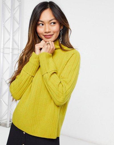 Giallo donna Maglione giallo in lana a coste con collo a imbuto - Whistles