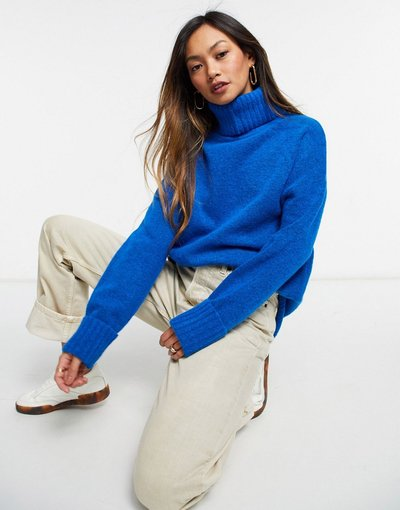 Blu donna Maglione oversize blu con collo a imbuto - Whistles