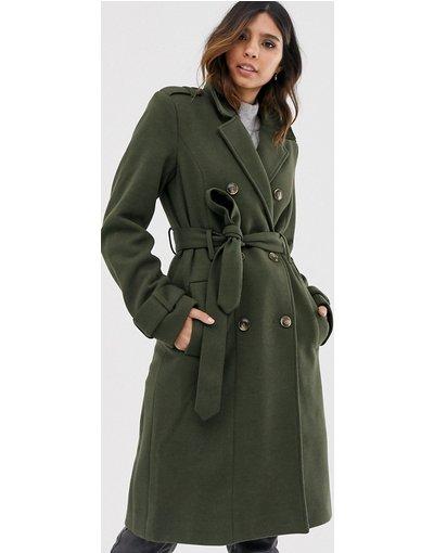 Beige donna Cappotto di lana con cintura - Y.A.S - Beige