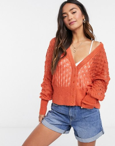 Arancione donna Cardigan corto traforato arancione - Y.A.S