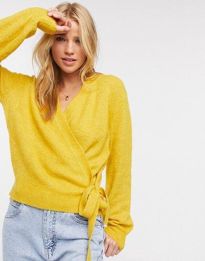 Giallo donna Cardigan in maglia a portafoglio giallo - Y.A.S