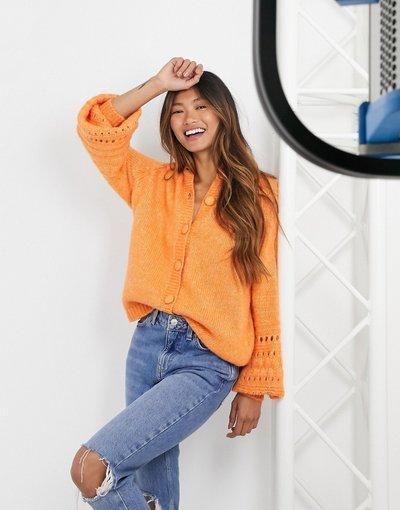 Arancione donna Cardigan in maglia con dettaglio maniche larghe colore arancione - Y.A.S