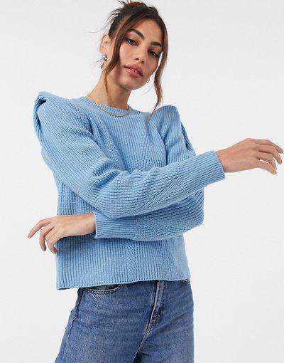 Blu donna Maglione blu con spalle molto accentuate - Y.A.S