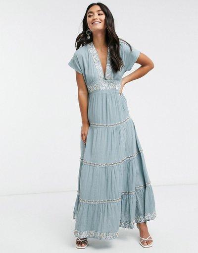Blu donna Vestito lungo blu a balze con ricami - Y.A.S. - Selma