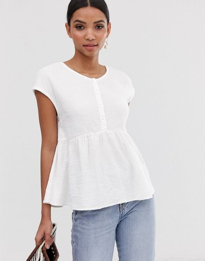 Camicia Bianco donna Top grembiule testurizzato con bottoni - Y.A.S - Bianco