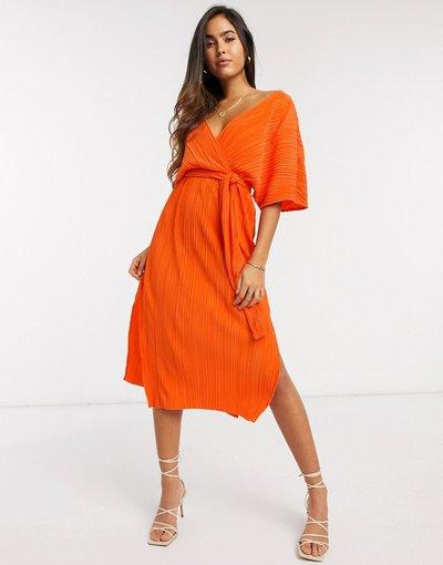Arancione donna Vestito a portafoglio midi plissé con maniche a kimono arancione - Y.A.S