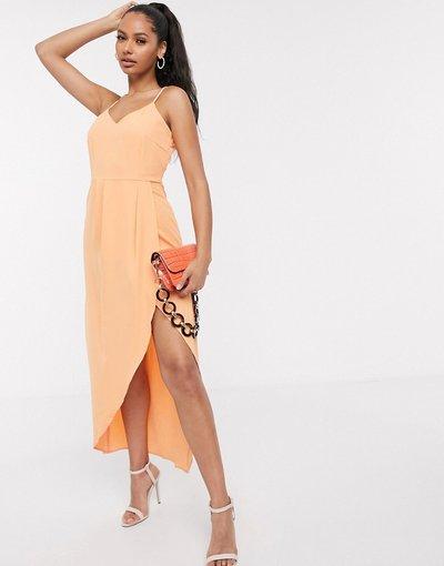Arancione donna Vestito midi a canottiera a portafoglio arancione - Y.A.S