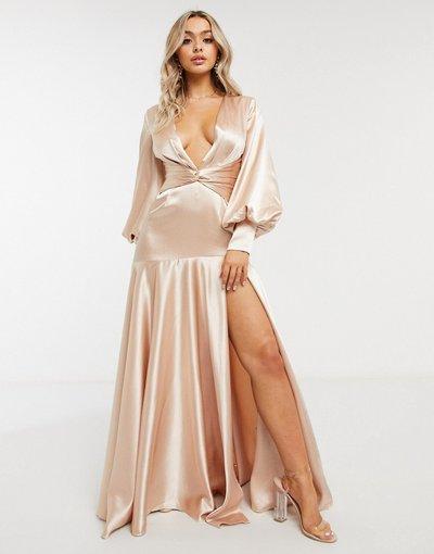Oro donna Vestito lungo oro champagne scollo profondo con maniche a palloncino e spacco - Yaura