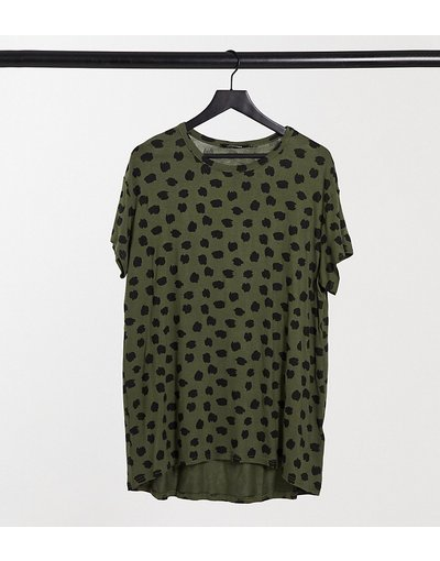 T-shirt Verde donna shirt kaki con stampa animalier - Yours - Verde - T