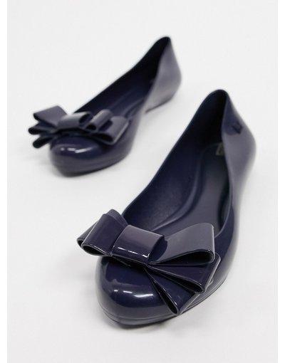 Scarpa bassa Navy donna Scarpe basse con fiocco blu navy - Zaxy