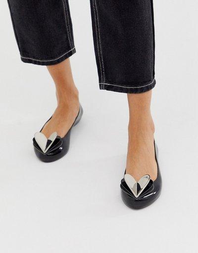 Scarpa bassa Nero donna Scarpe basse nere con cuore per San Valentino - Zaxy - Nero