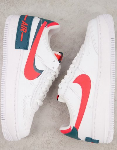 Sneakers bianche e rosa - Air Force 1 Shadow - Nike - donna
