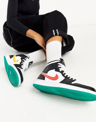 Sneakers alte nere e bianche con logo Nike multi colorato ...