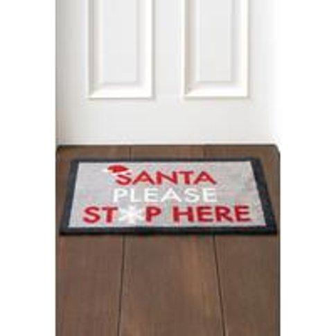 Santa Please Stop Here Door Mat