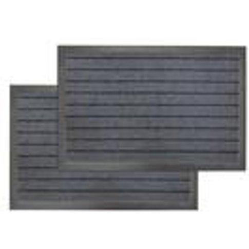 Pack of 2 Grey Linear Doormats