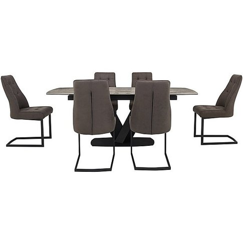 Merlin Extending Dining Table And 6 Chairs - Grey