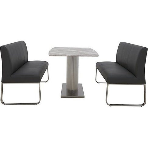 Cocoon Dining Table And 2 High Back Benches - Black