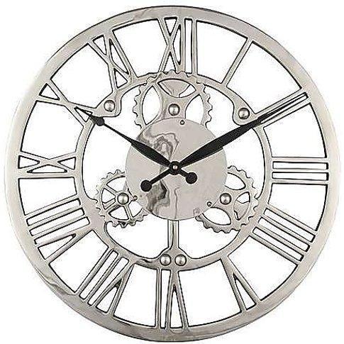 Nickel Cog Wall Clock - Silver - By Furniture Village