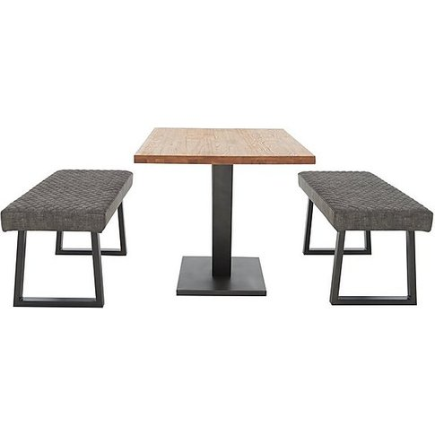 Compact Earth Dining Table And 2 Low Benches - Grey