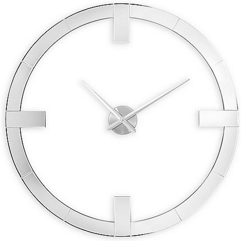 Large Mirrored Wall Clock - White