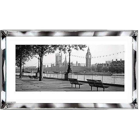 London View Mirror Glass Framed Picture - Grey