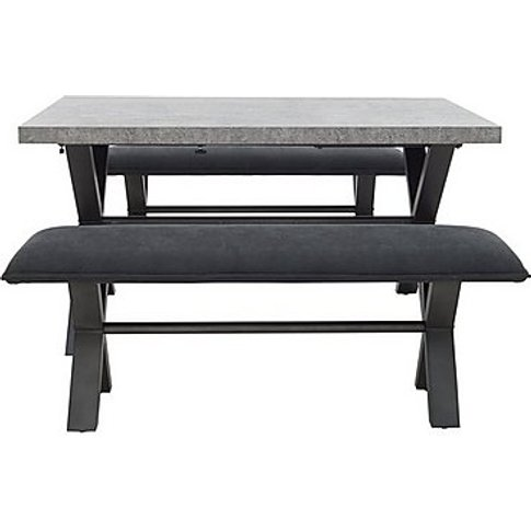 Moon Large Dining Table And 2 Large Benches - Black