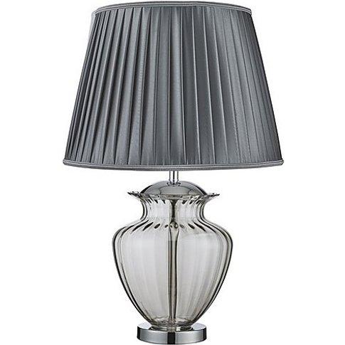 Urn Smoked Chrome Table Lamp - Grey