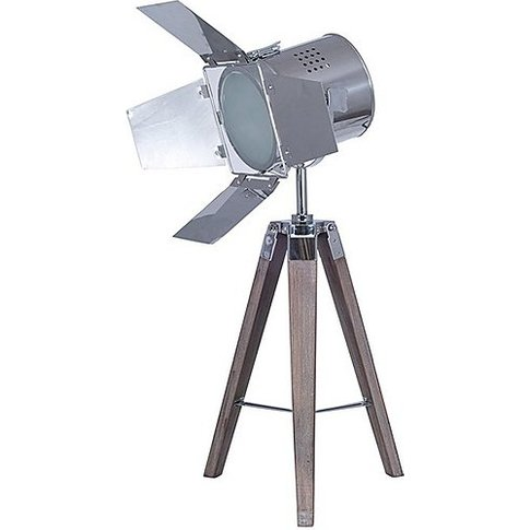 Wooden Tripod Film Table Lamp - Brown
