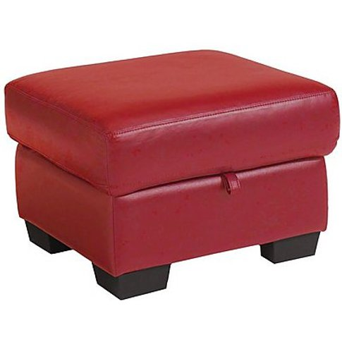 Dante Leather Storage Footstool - Red