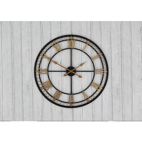 Antique Metal Wall Clock - Gold - By Furniture Village