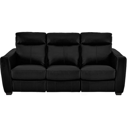 Compact Collection Midi 3 Seater Leather Manual Recliner Sofa - Black- World Of Leather