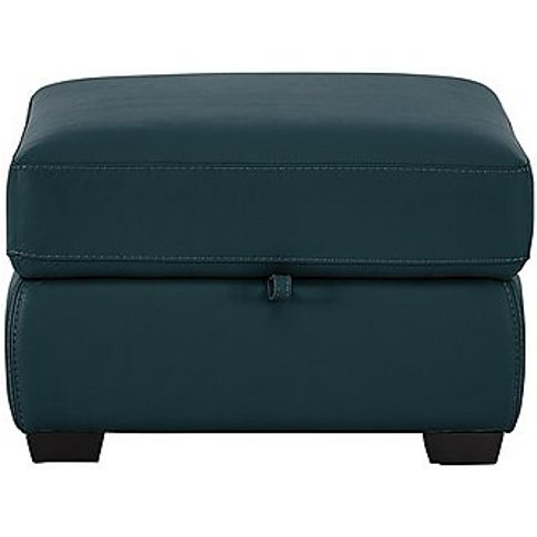 Compact Collection Midi Leather Footstool - Green- W...