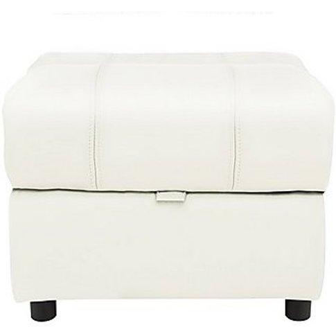 Moreno Leather Storage Footstool - White- World Of L...