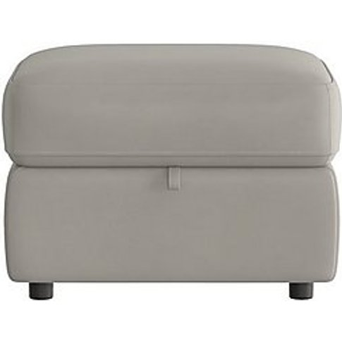 Touch Leather Storage Footstool - Grey- World Of Lea...