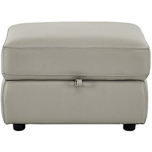 Bounce Leather Storage Footstool - Grey- World Of Le...