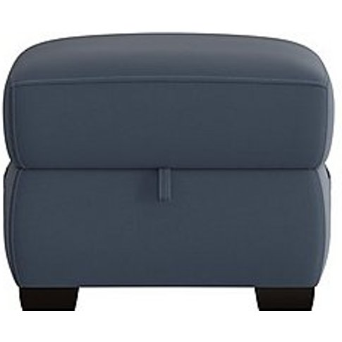 Starlight Express Leather Storage Footstool - Blue- World Of Leather