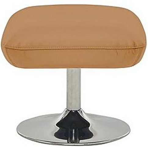Sanza Leather Swivel Footstool - Yellow- World Of Le...