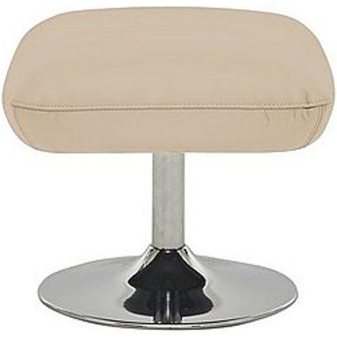 Sanza Leather Swivel Footstool - Beige- World Of Lea...