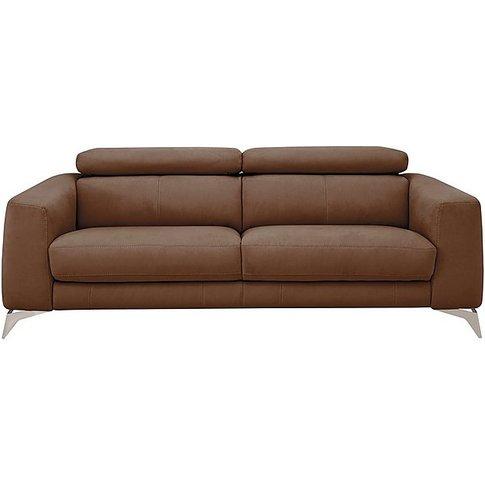 Flavio 3 Seater Fabric Sofa - Brown - By Furniture Village