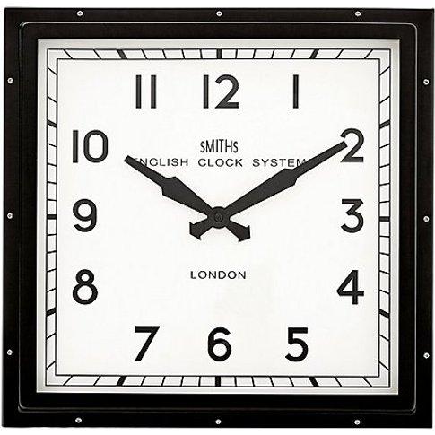 Smith's Square Clock - Black - By Furniture Village