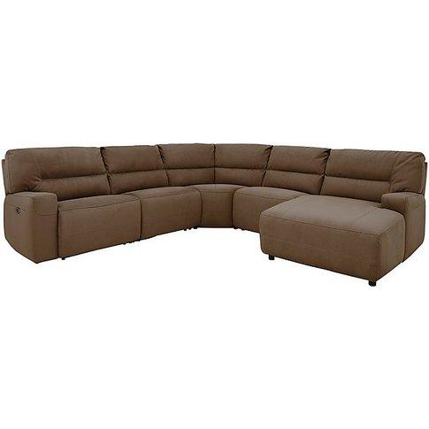Eden Fabric Recliner Corner Sofa - Beige - By Furnit...