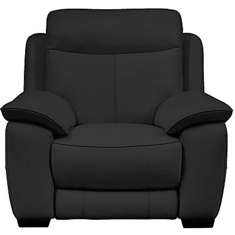 Starlight Express Leather Recliner Armchair - Black-...
