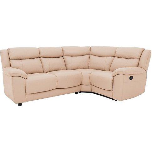 Bounce Compact Leather Corner Sofa - Beige- World Of...