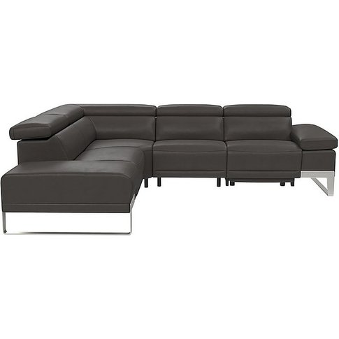 Azione Leather Power Recliner Corner Chaise Sofa Wit...