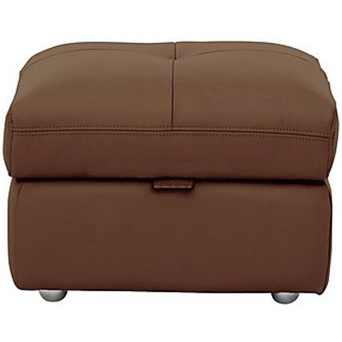 Gamma Leather Footstool - Brown