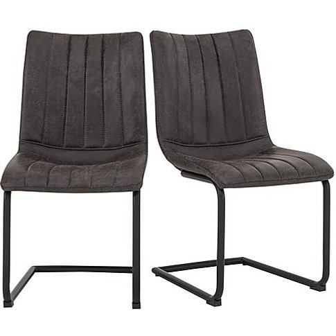 Ranger Pair Of Cantilever Dining Chairs - Grey